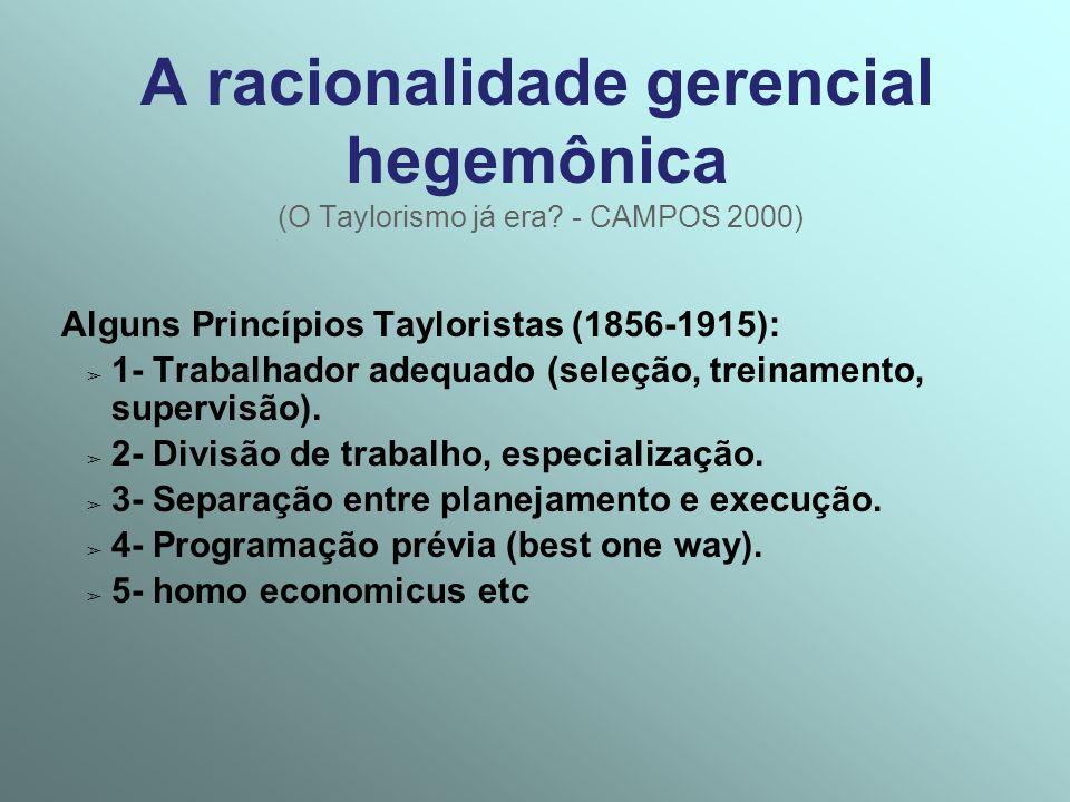 A racionalidade gerencial hegemônica (O Taylorismo já era? - CAMPOS 2000) Alguns Princípios Tayloristas (1856-1915): 1- Trabalhador adequado (seleção,