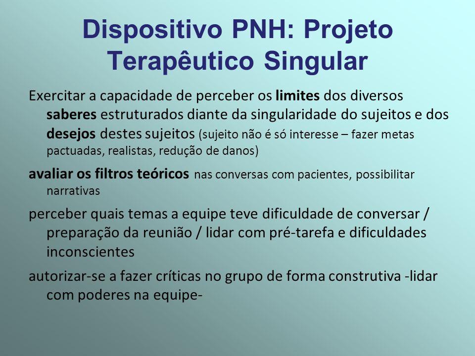 Dispositivo PNH: Projeto Terapêutico Singular Exercitar a capacidade de perceber os limites dos diversos saberes estruturados diante da singularidade