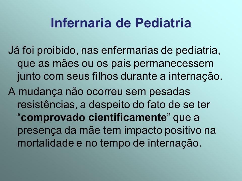 Infernaria de Pediatria Já foi proibido, nas enfermarias de pediatria, que as mães ou os pais permanecessem junto com seus filhos durante a internação