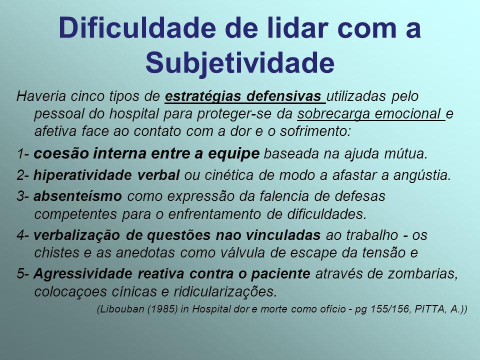 Dificuldade de lidar com a Subjetividade Haveria cinco tipos de estratégias defensivas utilizadas pelo pessoal do hospital para proteger-se da sobreca