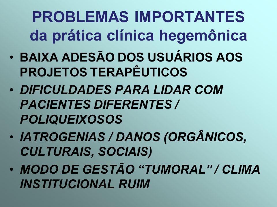 PROBLEMAS IMPORTANTES da prática clínica hegemônica BAIXA ADESÃO DOS USUÁRIOS AOS PROJETOS TERAPÊUTICOS DIFICULDADES PARA LIDAR COM PACIENTES DIFERENT