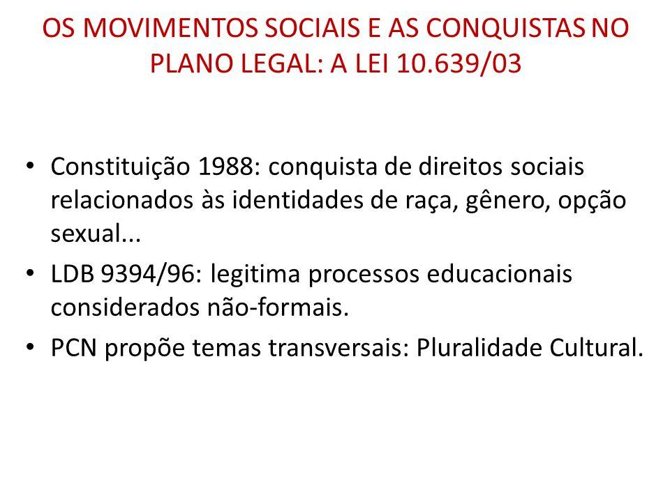 OS MOVIMENTOS SOCIAIS E AS CONQUISTAS NO PLANO LEGAL: A LEI 10.639/03 Constituição 1988: conquista de direitos sociais relacionados às identidades de