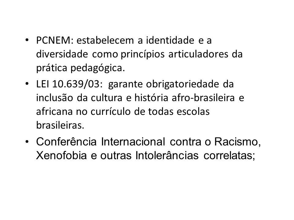 PCNEM: estabelecem a identidade e a diversidade como princípios articuladores da prática pedagógica. LEI 10.639/03: garante obrigatoriedade da inclusã