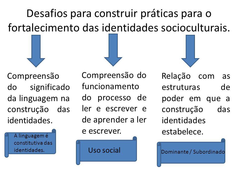 Desafios para construir práticas para o fortalecimento das identidades socioculturais. Compreensão do significado da linguagem na construção das ident