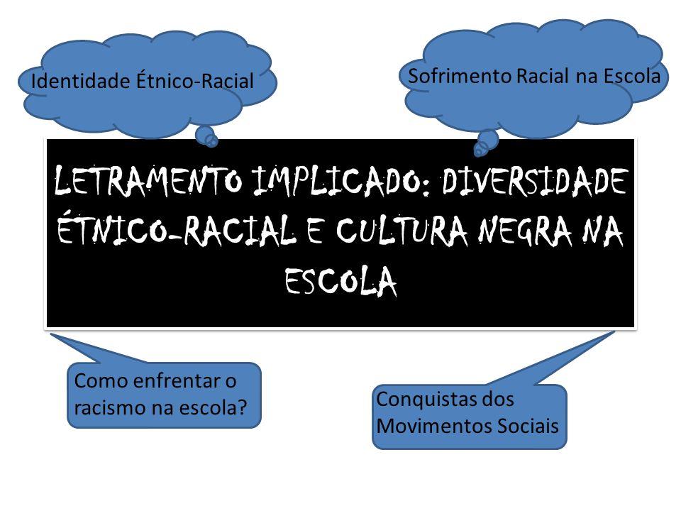LETRAMENTO IMPLICADO: DIVERSIDADE ÉTNICO-RACIAL E CULTURA NEGRA NA ESCOLA Identidade Étnico-Racial Sofrimento Racial na Escola Como enfrentar o racism