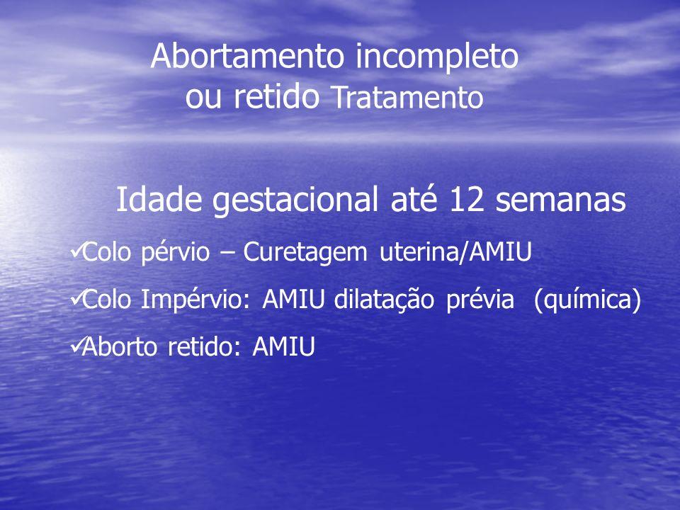 Idade gestacional até 12 semanas Colo pérvio – Curetagem uterina/AMIU Colo Impérvio: AMIU dilatação prévia (química) Aborto retido: AMIU Abortamento i