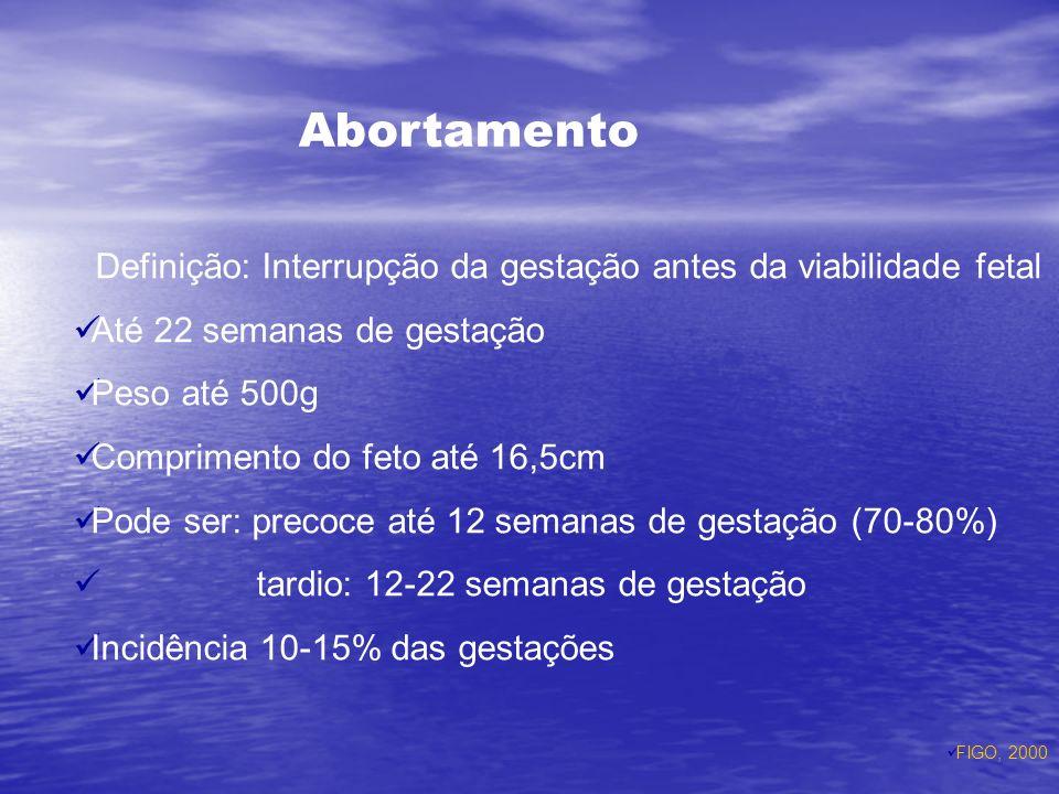 Abortamento Definição: Interrupção da gestação antes da viabilidade fetal Até 22 semanas de gestação Peso até 500g Comprimento do feto até 16,5cm Pode