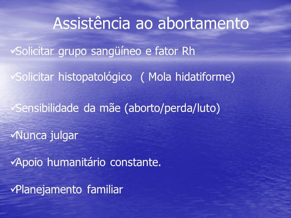 Solicitar grupo sangüíneo e fator Rh Solicitar histopatológico ( Mola hidatiforme) Sensibilidade da mãe (aborto/perda/luto) Nunca julgar Apoio humanit