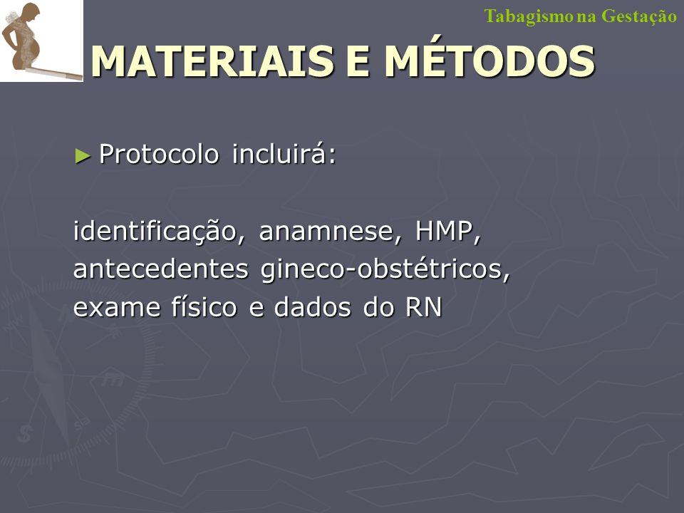 Protocolo incluirá: Protocolo incluirá: identificação, anamnese, HMP, antecedentes gineco-obstétricos, exame físico e dados do RN Tabagismo na Gestaçã