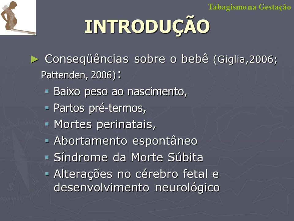 Conseqüências sobre o aleitamento (Fontaine, 2005; Giglia,2006; Liu, 2006 ) : Conseqüências sobre o aleitamento (Fontaine, 2005; Giglia,2006; Liu, 2006 ) : Fumo interfere na produção do leite Fumo interfere na produção do leite Parada precoce da amamentação em mães fumantes Parada precoce da amamentação em mães fumantes Tabagismo na GestaçãoINTRODUÇÃO
