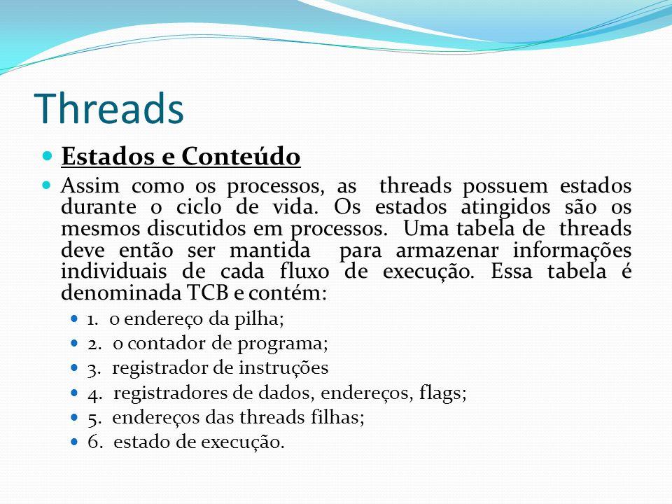 Threads Estados e Conteúdo Assim como os processos, as threads possuem estados durante o ciclo de vida. Os estados atingidos são os mesmos discutidos