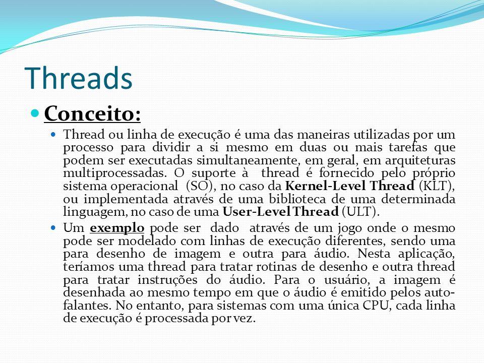Threads Conceito: Thread ou linha de execução é uma das maneiras utilizadas por um processo para dividir a si mesmo em duas ou mais tarefas que podem
