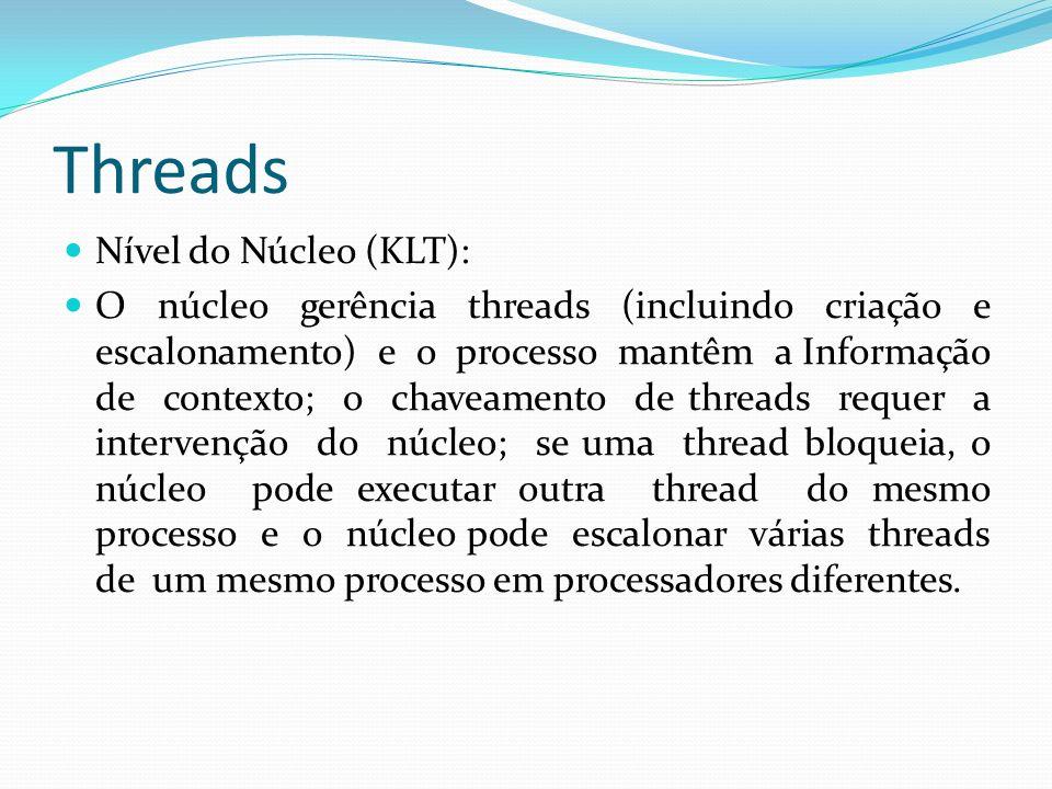 Threads Nível do Núcleo (KLT): O núcleo gerência threads (incluindo criação e escalonamento) e o processo mantêm a Informação de contexto; o chaveamen