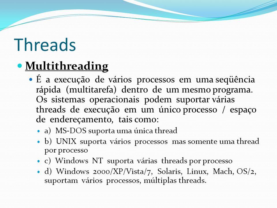 Threads Multithreading É a execução de vários processos em uma seqüência rápida (multitarefa) dentro de um mesmo programa. Os sistemas operacionais po