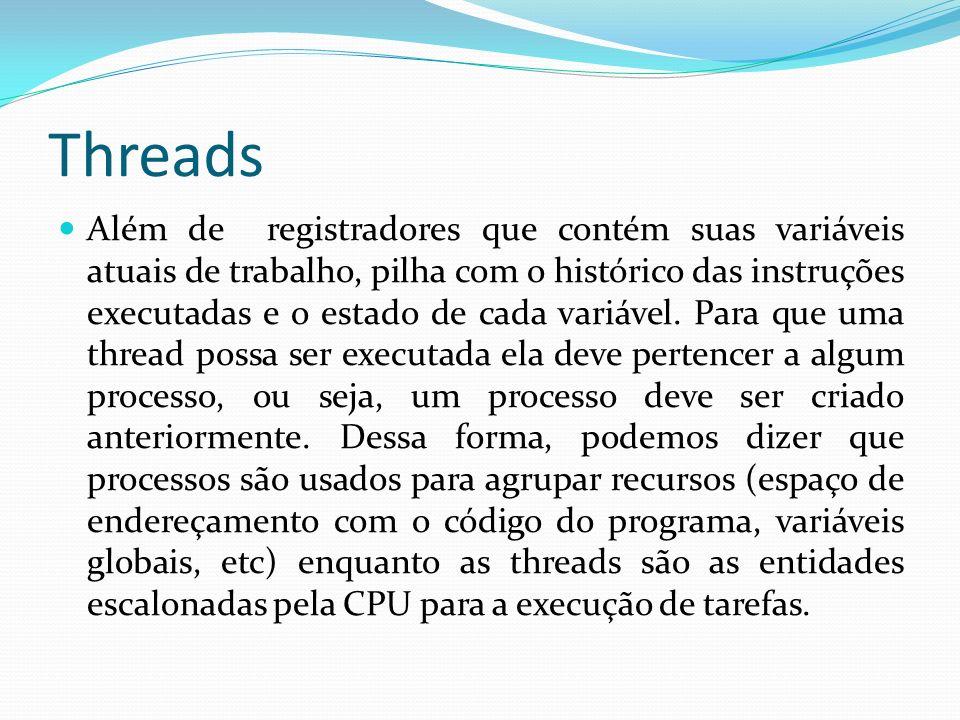 Threads Além de registradores que contém suas variáveis atuais de trabalho, pilha com o histórico das instruções executadas e o estado de cada variáve