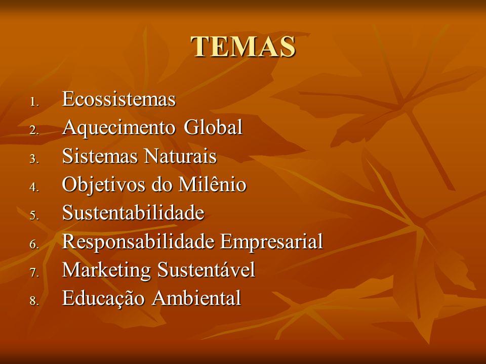 TEMAS 1. Ecossistemas 2. Aquecimento Global 3. Sistemas Naturais 4. Objetivos do Milênio 5. Sustentabilidade 6. Responsabilidade Empresarial 7. Market