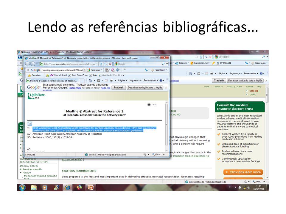 Lendo as referências bibliográficas...
