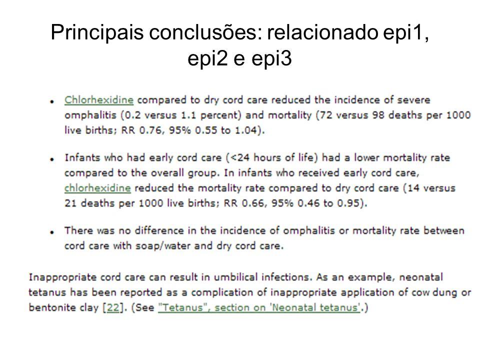 Principais conclusões: relacionado epi1, epi2 e epi3