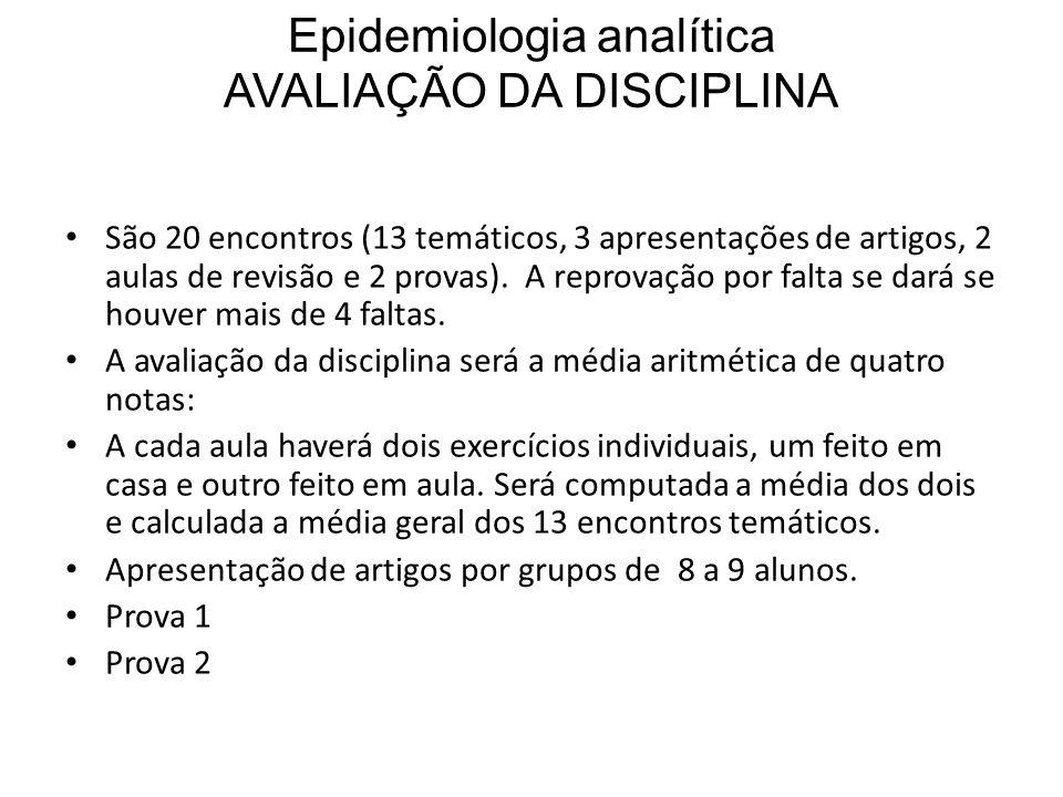 Epidemiologia analítica AVALIAÇÃO DA DISCIPLINA São 20 encontros (13 temáticos, 3 apresentações de artigos, 2 aulas de revisão e 2 provas).