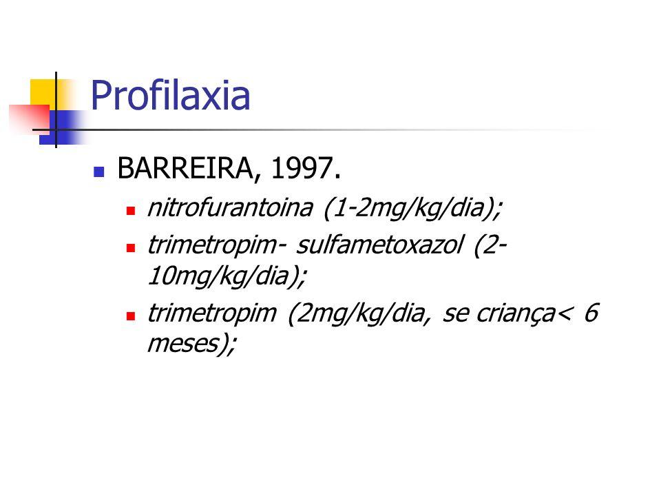 Profilaxia BARREIRA, 1997. nitrofurantoina (1-2mg/kg/dia); trimetropim- sulfametoxazol (2- 10mg/kg/dia); trimetropim (2mg/kg/dia, se criança< 6 meses)