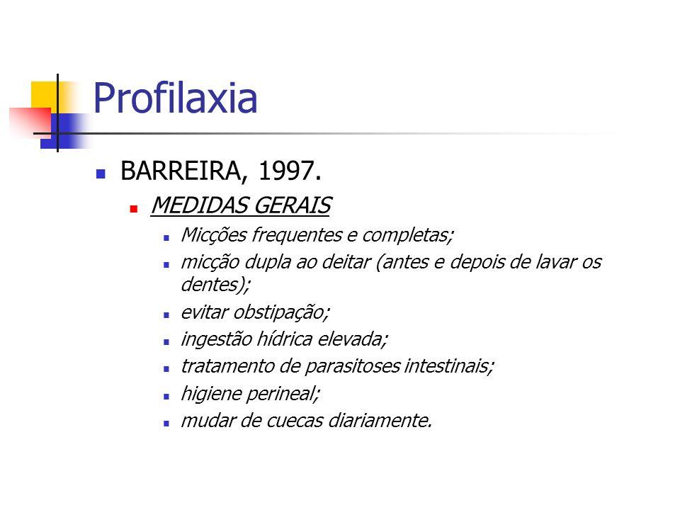 Profilaxia BARREIRA, 1997. MEDIDAS GERAIS Micções frequentes e completas; micção dupla ao deitar (antes e depois de lavar os dentes); evitar obstipaçã