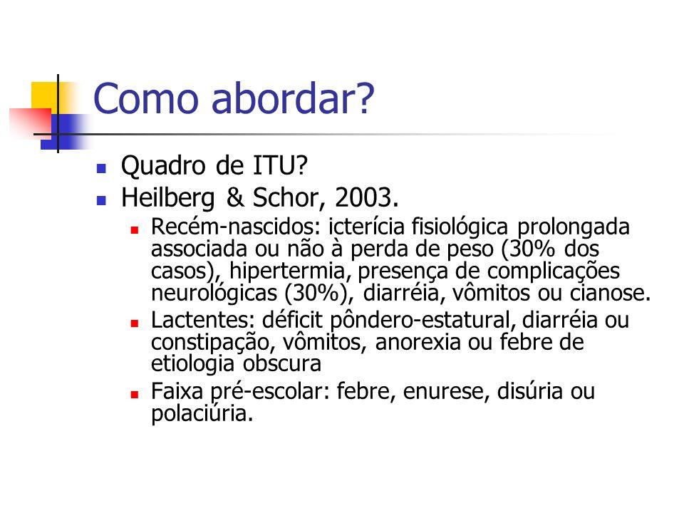 Como abordar? Quadro de ITU? Heilberg & Schor, 2003. Recém-nascidos: icterícia fisiológica prolongada associada ou não à perda de peso (30% dos casos)