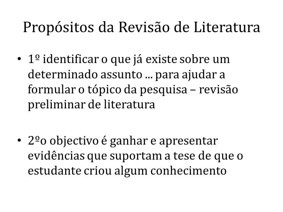 Propósitos da Revisão de Literatura 1º identificar o que já existe sobre um determinado assunto... para ajudar a formular o tópico da pesquisa – revis