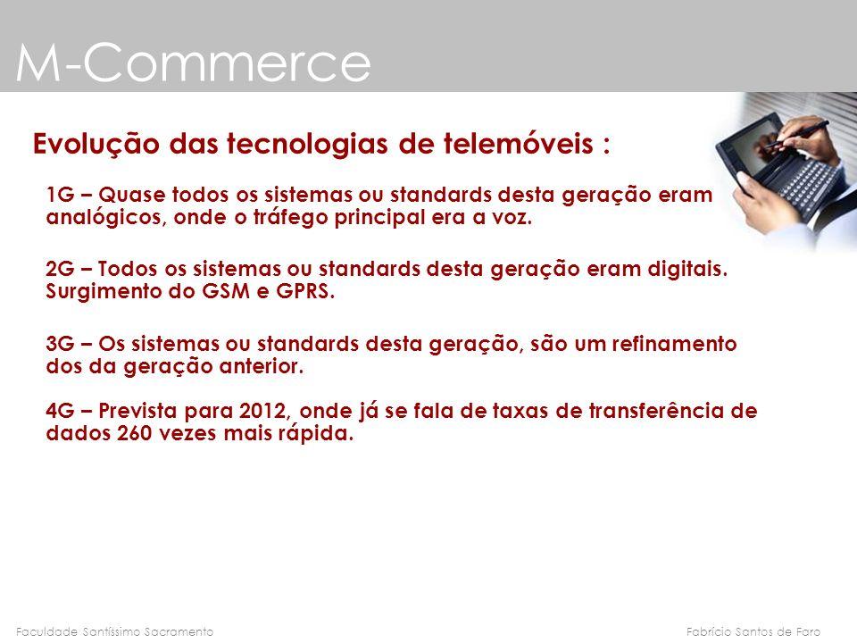 Fabrício Santos de FaroFaculdade Santíssimo Sacramento M-Commerce Evolução das tecnologias de telemóveis : 1G – Quase todos os sistemas ou standards d