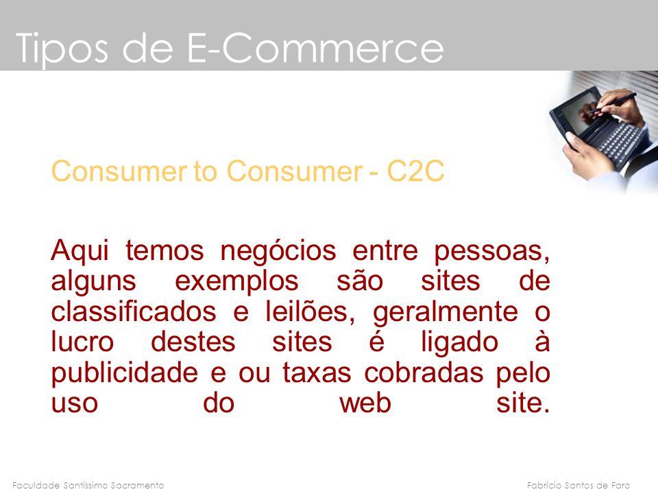Fabrício Santos de FaroFaculdade Santíssimo Sacramento Consumer to Consumer - C2C Aqui temos negócios entre pessoas, alguns exemplos são sites de clas