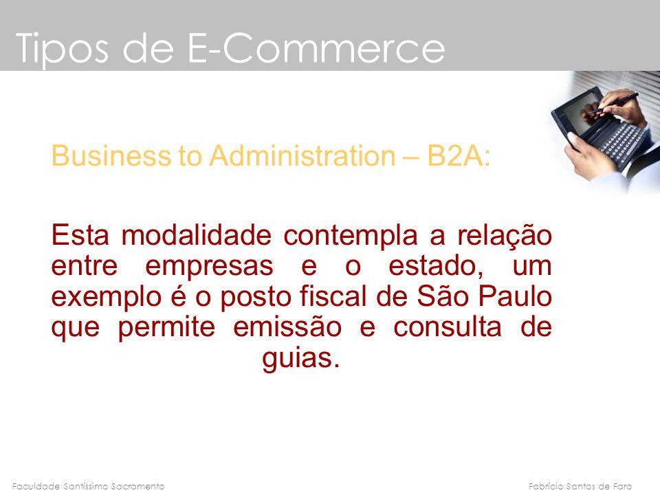 Fabrício Santos de FaroFaculdade Santíssimo Sacramento Business to Administration – B2A: Esta modalidade contempla a relação entre empresas e o estado