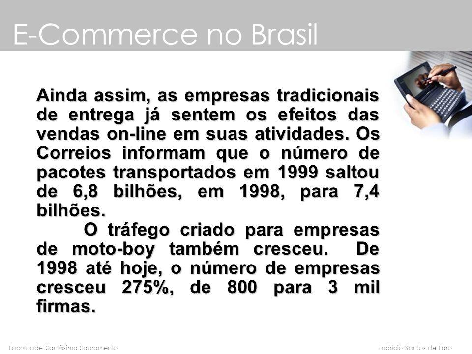Fabrício Santos de FaroFaculdade Santíssimo Sacramento E-Commerce no Brasil Ainda assim, as empresas tradicionais de entrega já sentem os efeitos das