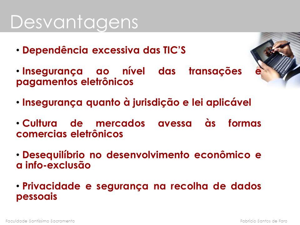 Fabrício Santos de FaroFaculdade Santíssimo Sacramento Desvantagens Dependência excessiva das TICS Insegurança ao nível das transações e pagamentos el