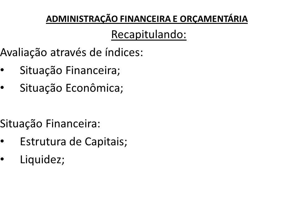 ADMINISTRAÇÃO FINANCEIRA E ORÇAMENTÁRIA Recapitulando: Avaliação através de índices: Situação Financeira; Situação Econômica; Situação Financeira: Est
