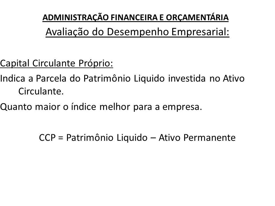 ADMINISTRAÇÃO FINANCEIRA E ORÇAMENTÁRIA Avaliação do Desempenho Empresarial: Capital Circulante Próprio: Indica a Parcela do Patrimônio Liquido invest