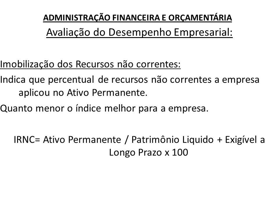 ADMINISTRAÇÃO FINANCEIRA E ORÇAMENTÁRIA Avaliação do Desempenho Empresarial: Imobilização dos Recursos não correntes: Indica que percentual de recurso