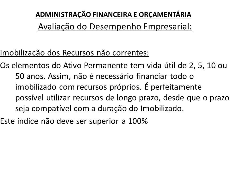 ADMINISTRAÇÃO FINANCEIRA E ORÇAMENTÁRIA Avaliação do Desempenho Empresarial: Imobilização dos Recursos não correntes: Os elementos do Ativo Permanente