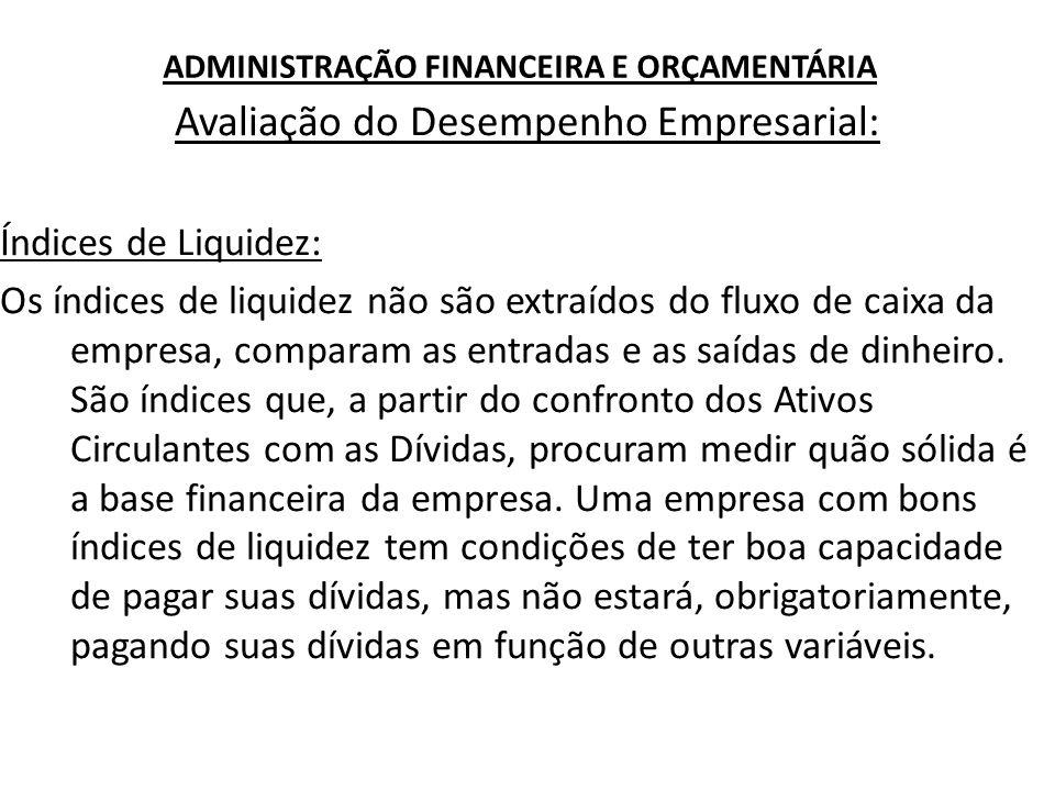ADMINISTRAÇÃO FINANCEIRA E ORÇAMENTÁRIA Avaliação do Desempenho Empresarial: Índices de Liquidez: Os índices de liquidez não são extraídos do fluxo de