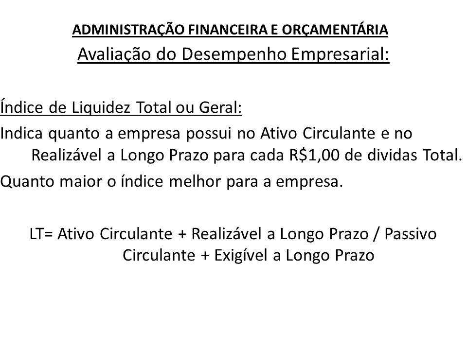 ADMINISTRAÇÃO FINANCEIRA E ORÇAMENTÁRIA Avaliação do Desempenho Empresarial: Índice de Liquidez Total ou Geral: Indica quanto a empresa possui no Ativ
