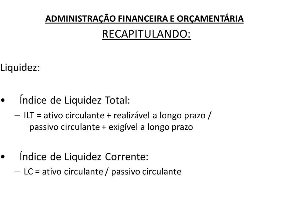 ADMINISTRAÇÃO FINANCEIRA E ORÇAMENTÁRIA RECAPITULANDO: Liquidez: Índice de Liquidez Total: – ILT = ativo circulante + realizável a longo prazo / passi