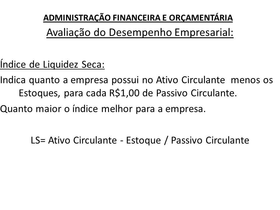 ADMINISTRAÇÃO FINANCEIRA E ORÇAMENTÁRIA Avaliação do Desempenho Empresarial: Índice de Liquidez Seca: Indica quanto a empresa possui no Ativo Circulan