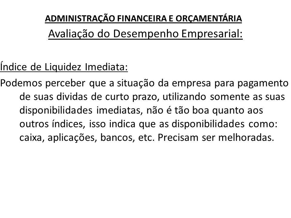 ADMINISTRAÇÃO FINANCEIRA E ORÇAMENTÁRIA Avaliação do Desempenho Empresarial: Índice de Liquidez Imediata: Podemos perceber que a situação da empresa p