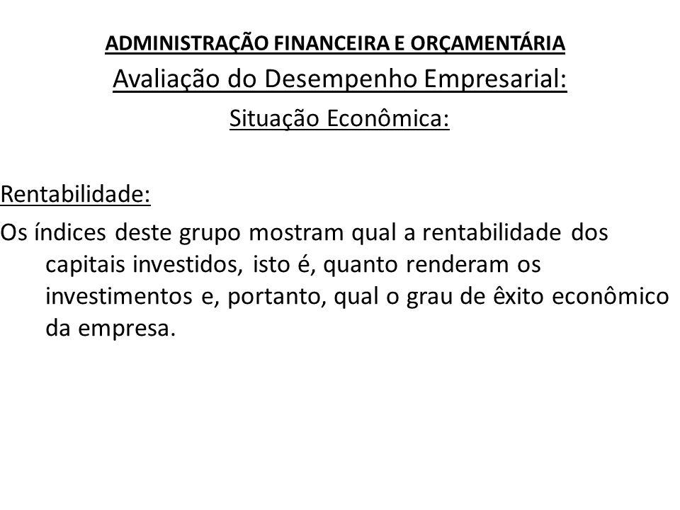 ADMINISTRAÇÃO FINANCEIRA E ORÇAMENTÁRIA Avaliação do Desempenho Empresarial: Situação Econômica: Rentabilidade: Os índices deste grupo mostram qual a