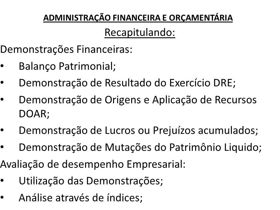 ADMINISTRAÇÃO FINANCEIRA E ORÇAMENTÁRIA Recapitulando: Demonstrações Financeiras: Balanço Patrimonial; Demonstração de Resultado do Exercício DRE; Dem