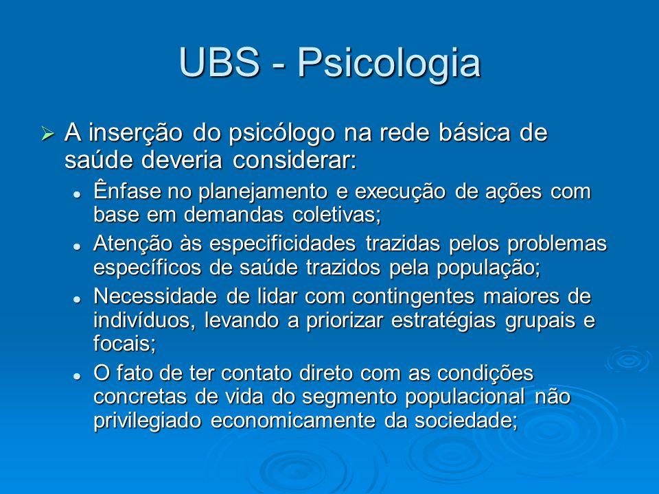 UBS - Psicologia A inserção do psicólogo na rede básica de saúde deveria considerar: A inserção do psicólogo na rede básica de saúde deveria considera