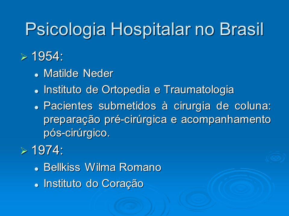 Psicologia Hospitalar no Brasil 1954: 1954: Matilde Neder Matilde Neder Instituto de Ortopedia e Traumatologia Instituto de Ortopedia e Traumatologia