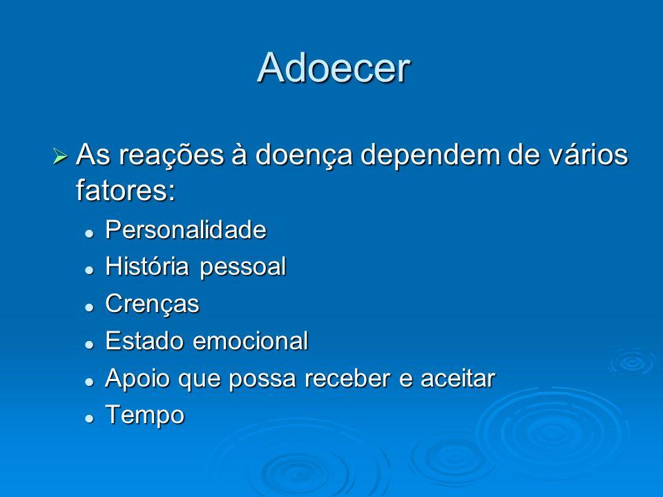 Adoecer As reações à doença dependem de vários fatores: As reações à doença dependem de vários fatores: Personalidade Personalidade História pessoal H
