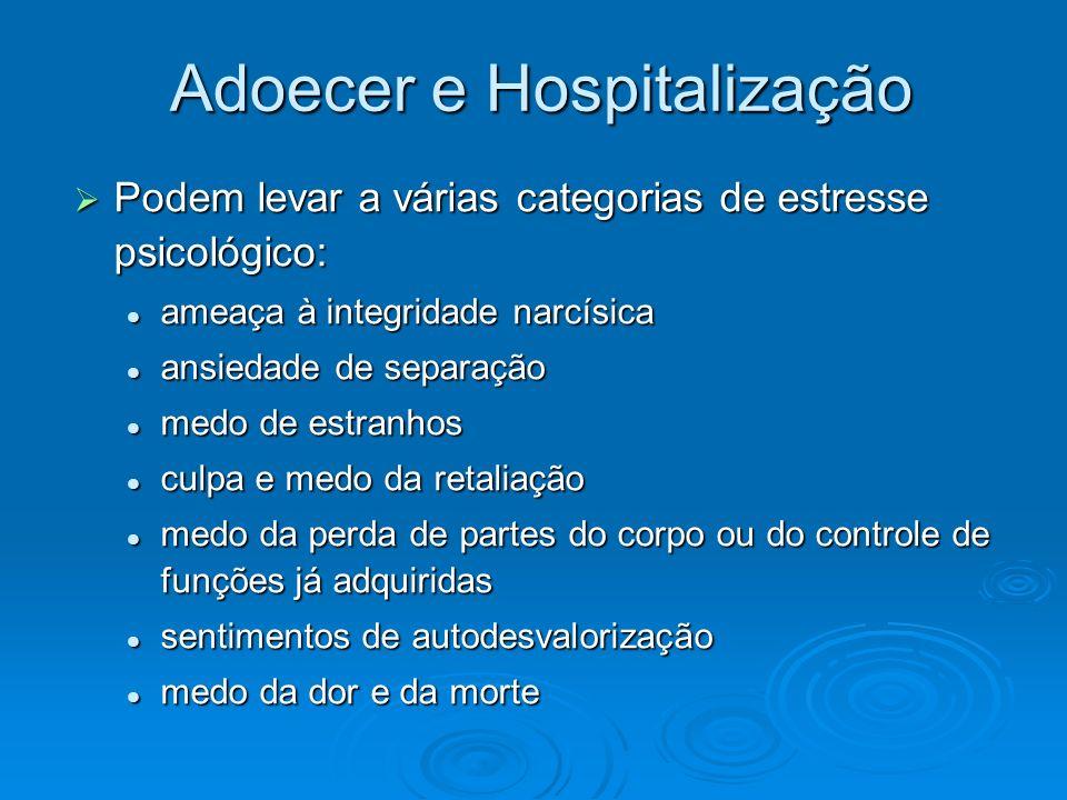 Adoecer e Hospitalização Podem levar a várias categorias de estresse psicológico: Podem levar a várias categorias de estresse psicológico: ameaça à in