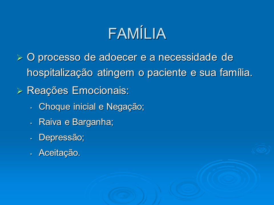 FAMÍLIA O processo de adoecer e a necessidade de hospitalização atingem o paciente e sua família. O processo de adoecer e a necessidade de hospitaliza