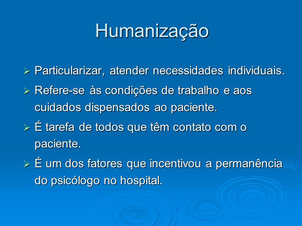 Humanização Particularizar, atender necessidades individuais. Particularizar, atender necessidades individuais. Refere-se às condições de trabalho e a