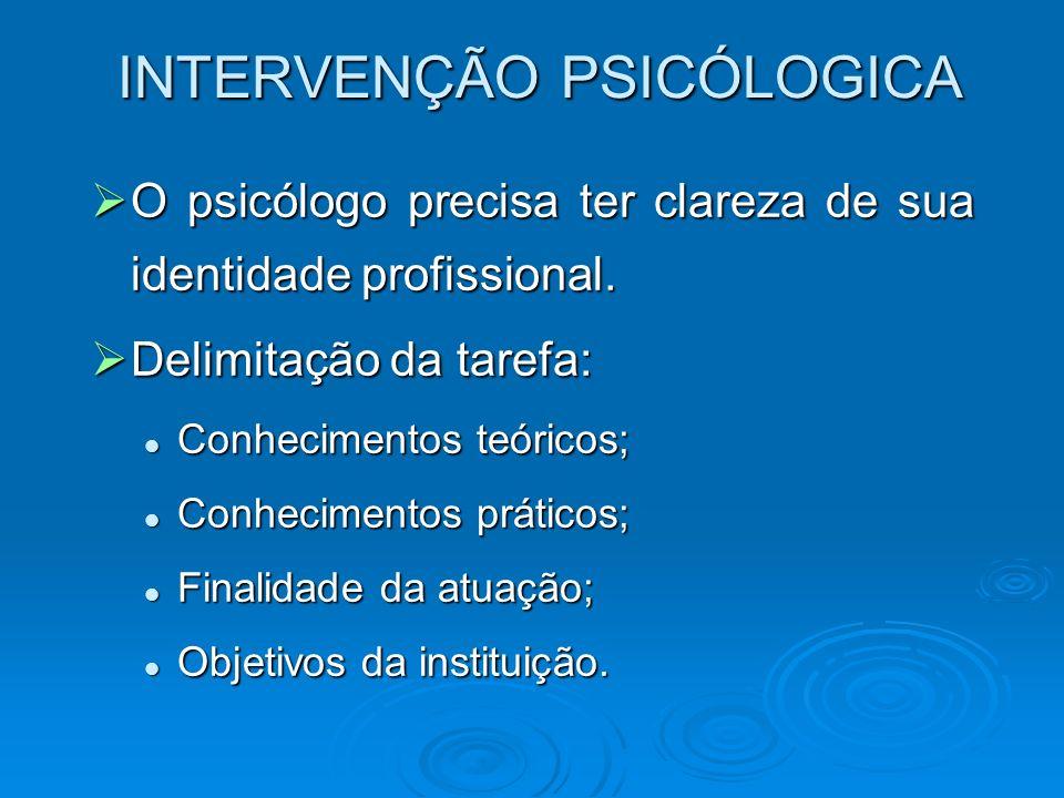 INTERVENÇÃO PSICÓLOGICA O psicólogo precisa ter clareza de sua identidade profissional. O psicólogo precisa ter clareza de sua identidade profissional